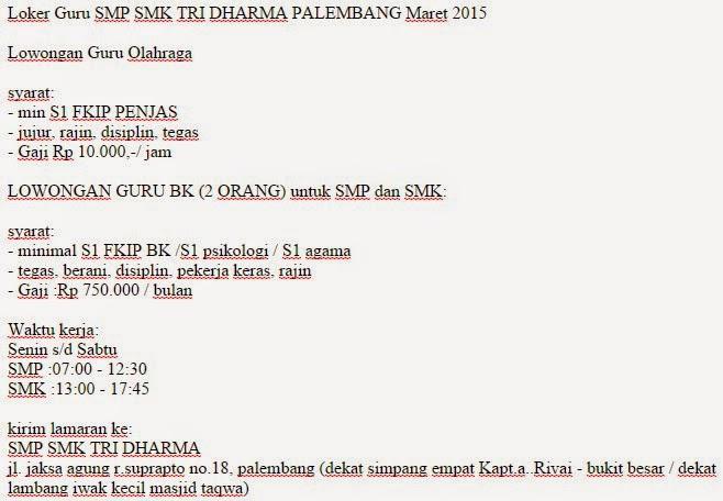 SMP SMK TRI DHARMA PALEMBANG