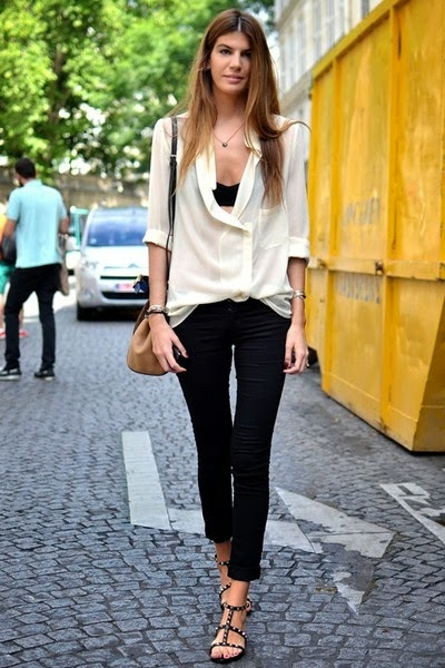 Paris Street Style - the unstructured cream shirt with a classic pant
