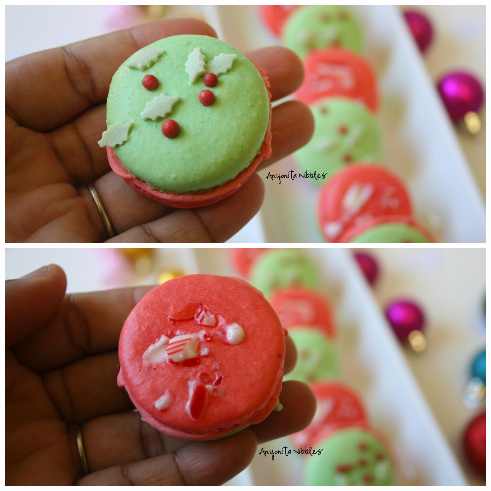 Front and back to a Gluten Free Double Peppermint French Macaron from Anyonita-nibbles.co.uk