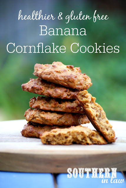 Gluten Free Banana Cornflake Cookies Recipe | low fat, gluten free, healthy, healthier, lower sugar, refined sugar free