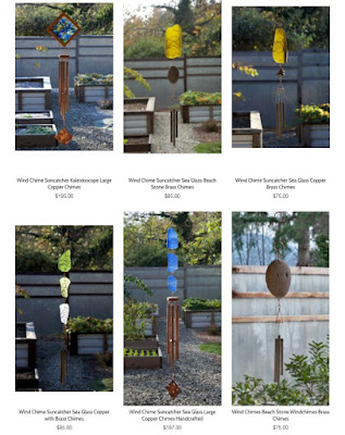 Picture of some wind chimes and sun catchers from Coast Chimes