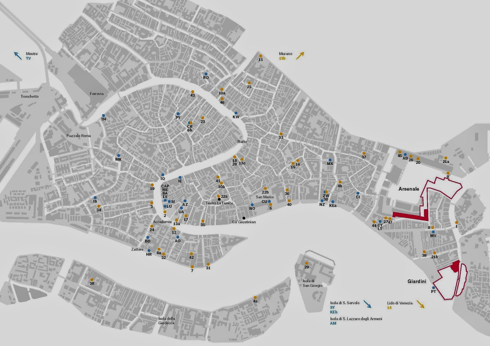 Biennale Di Venezia Mappa Della Biennale Di Venezia - Venice biennale 2016 map