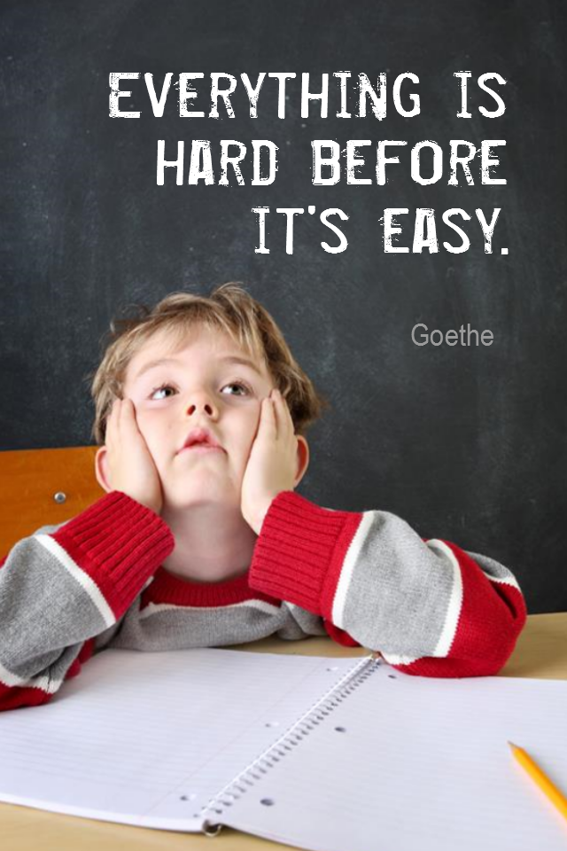 visual quote - image quotation for Learning - Everything is hard before it's easy. - Goethe
