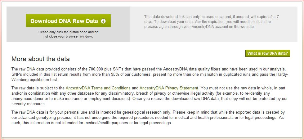 how to download raw data from ancestry