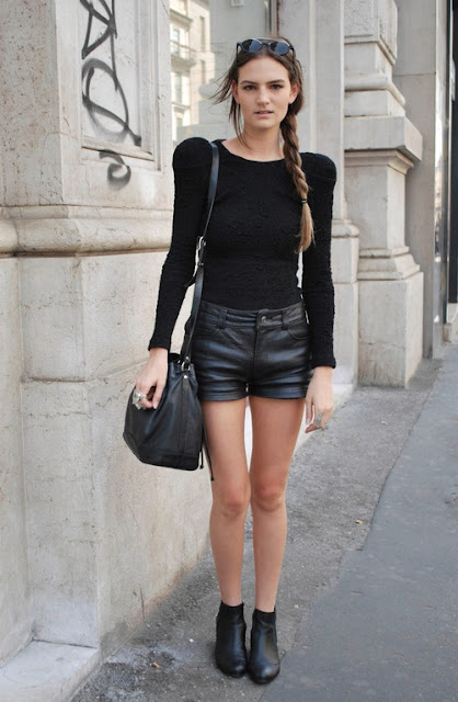 Mint Blog, Black leather shorts and black top