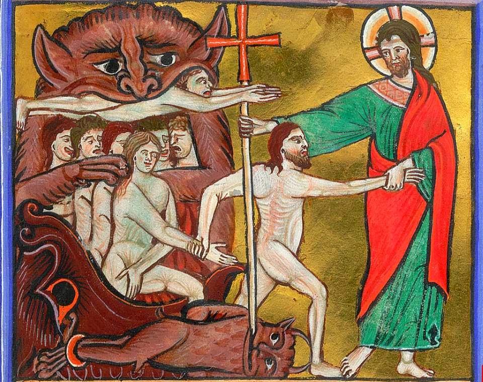 13th century illumination: Christ harrowing Hell