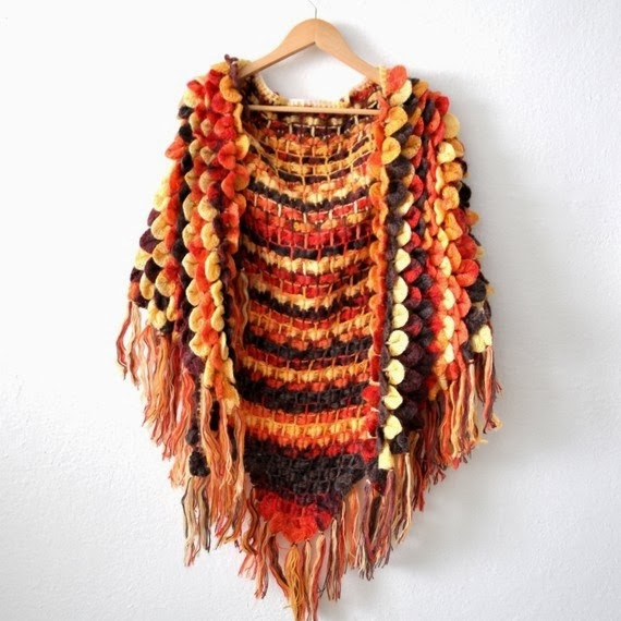 Fall foliage. Crochet Shawl. Autumn Colors Rusty Red