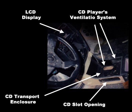 photo image with labels showing raw installation of British champion sound system built by Alberto A Lopez and Paul Richardson