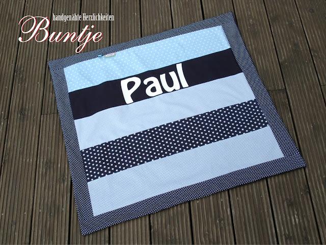 Krabbeldecke Decke Baby Kuscheldecke Name Geschenk Geburt Taufe Baumwolle Fleece nähen handmade Buntje personalisiert Junge Paul pastell hellblau blau dunkelblau klassisch