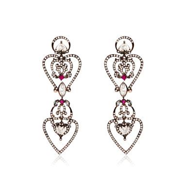 Pendientes de oro rosa,diamantes y rubís