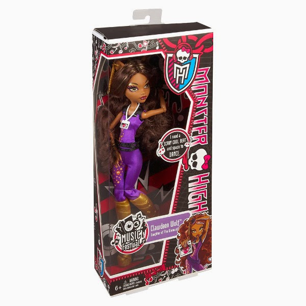 TOYS : JUGUETES - MONSTER HIGH   Music Festival - Clawdeen Wolf | Muñeca | Doll  Producto Oficial 2013 | Mattel Y7693 | A partir de 6 años