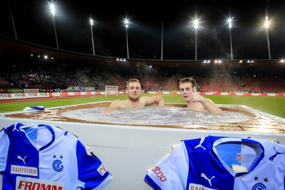 Grasshopper Zürich allow fans to watch game from pitch-side jacuzzi