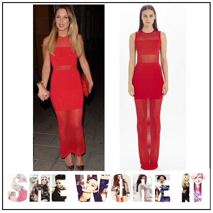 Bodycon, Bright, Crochet, Dress, Maxi Dress, Panels, Red, Sam Faiers, Sheer, Sleeveless, Torn By Ronny Kobo, TOWIE, The Only Way Is Essex,
