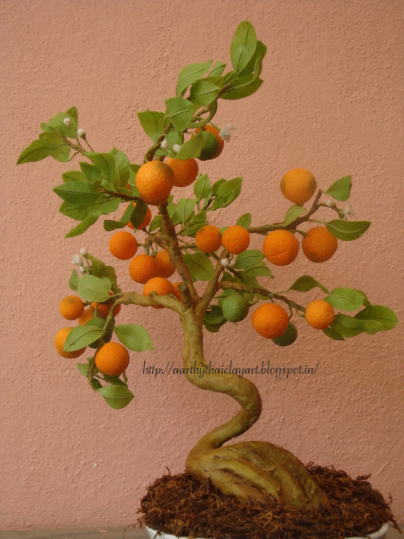 Thai Clay Art Orange Bonsai
