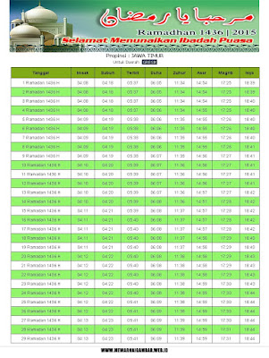 Jadwal Imsakiyah Gresik Ramadhan 1436 H
