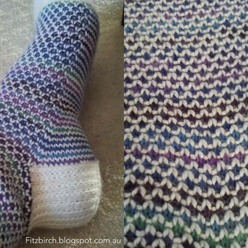FitzBirch Crafts: Broken Seed Stitch (or Moss Stitch) Socks