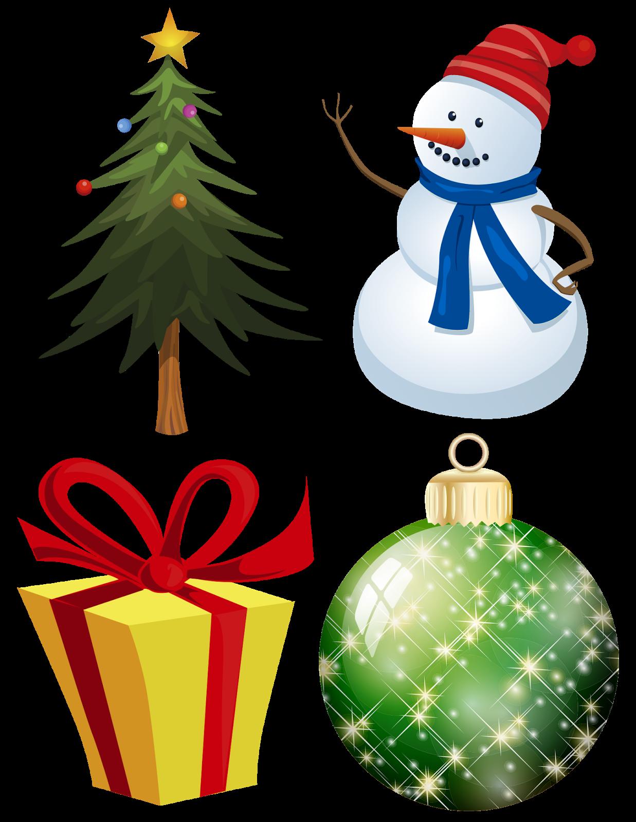 Muñeco de nieve, pino navideño, caja de regalo y esfera navideña