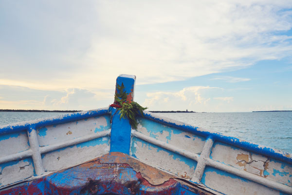 Travelling on a boat in Jaffna