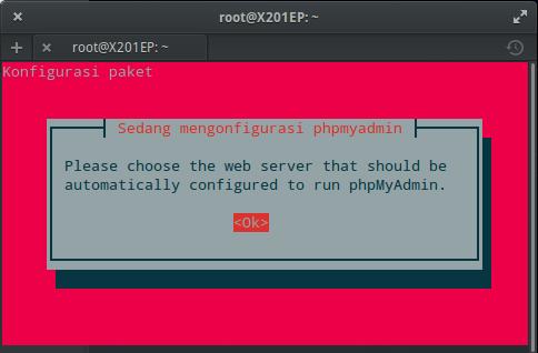 Instal MySQL dan phpMyAdmin : Konfigurasi phpMyAdmin (OK)