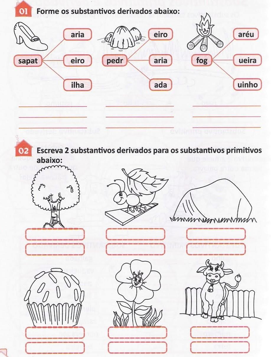 EXERCÍCIOS - SUBSTANTIVOS PRIMITIVOS E DERIVADOS - Holiday and ...