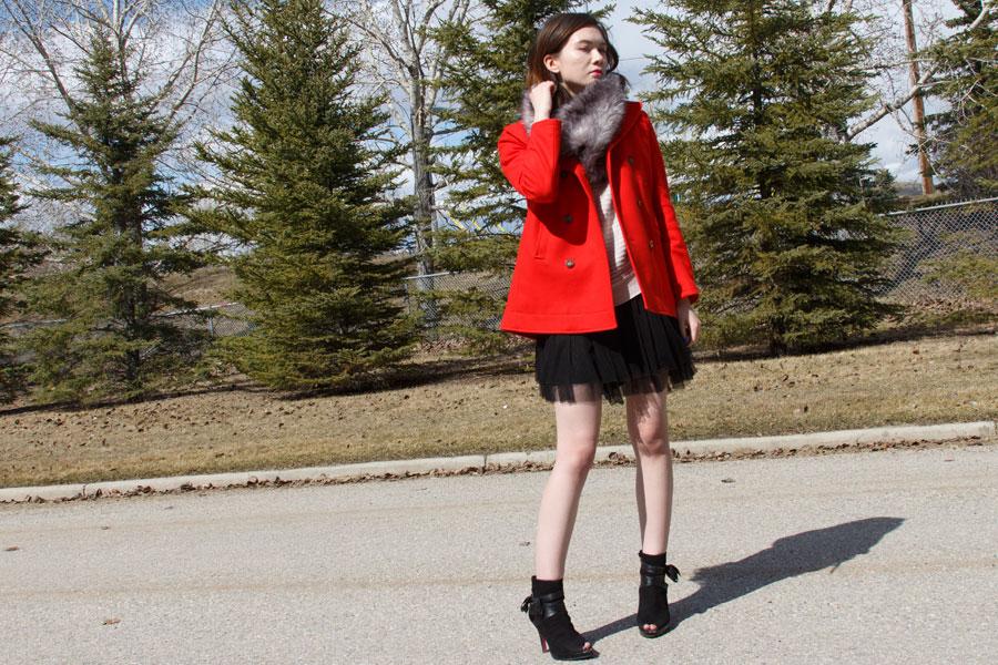 Club Monaco, Barbie, Town Shoes, Asos, fur snood, spring fashion