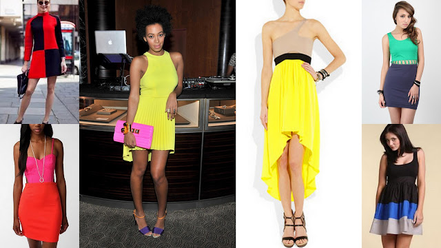 neon color block dresses