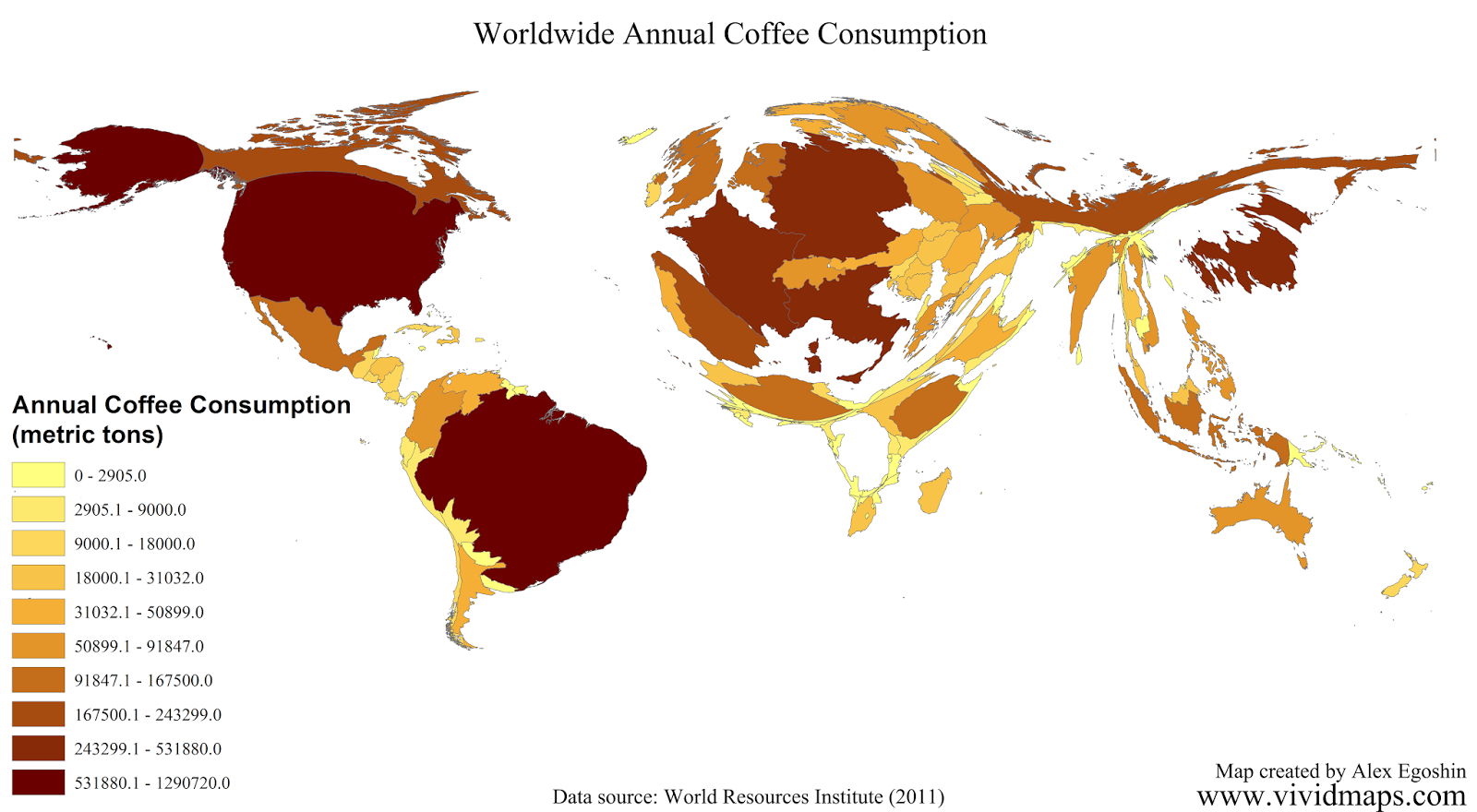 Worldwide annual coffee consumption