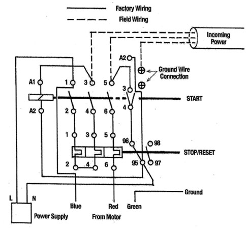 wiring diagram for 3 phase dol starter  wiring  best site