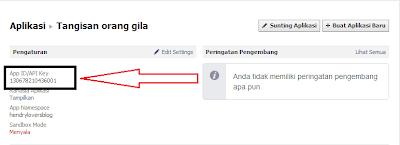 mengambil API Key facebook
