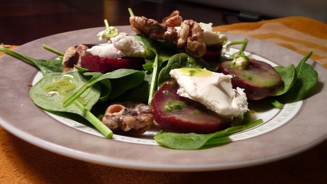 Libra Loves: Beet and Honey Chevre Salad with Lemon-Basil Vinaigrette