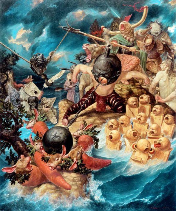 Viktor Safonkin pinturas surreais sombrias medievais mitológicas religião subconsciente Exército da irritação