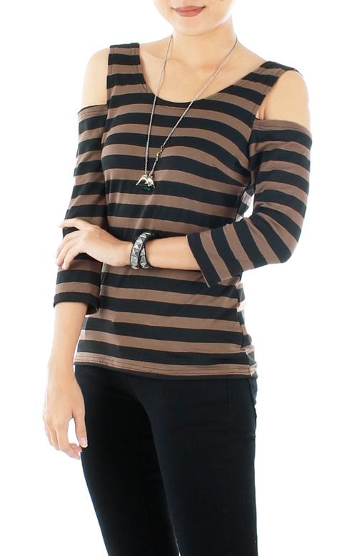 Brown Cold Shoulder Stripe Top