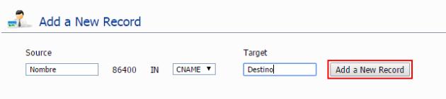 Agregar un nuevo registro en DNS ZONE EDITOR