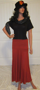 Solid Rust Colored Stretch Jersey Knit Maxi skirt