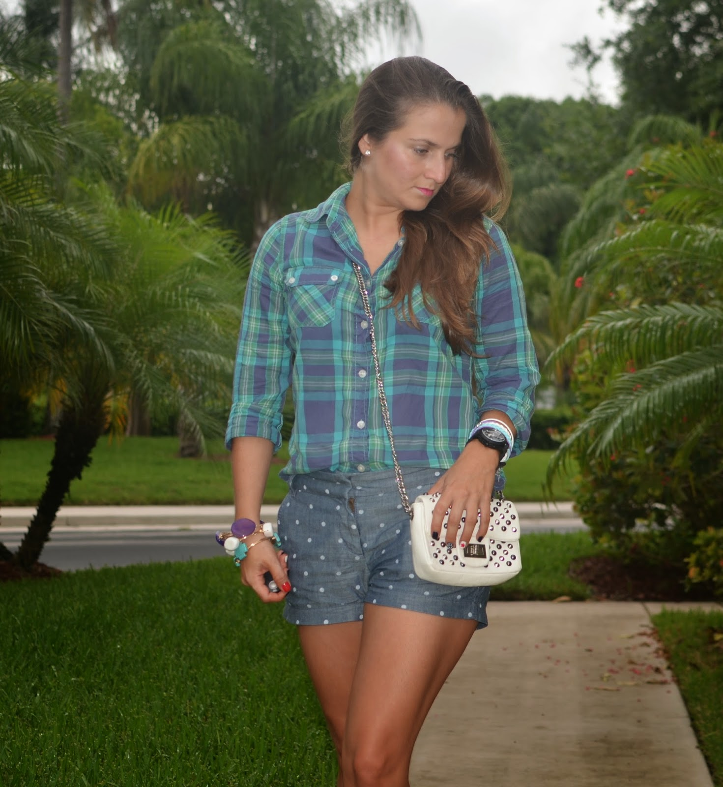 Plaid top - polka dot shorts - printed flats - studded clutch