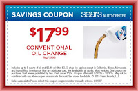 Sears conventional oil change printable coupon September 2015