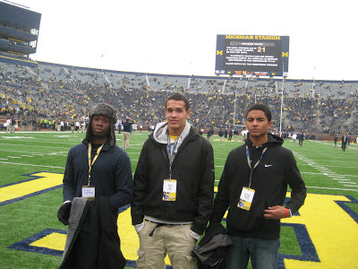 Jaleel Hytchye, Derek Kief and Cameron Bouldin unofficial visit to UM game