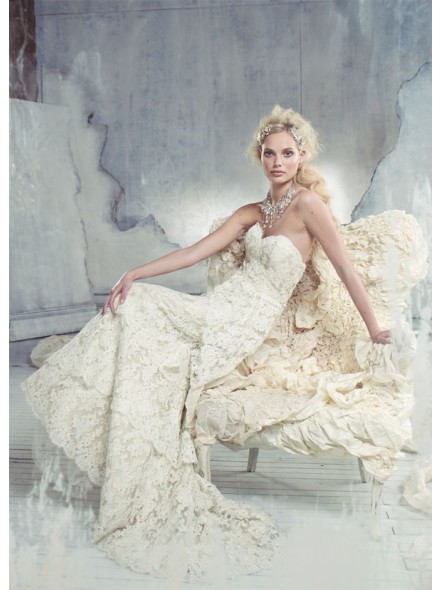 Train ivory wedding dress