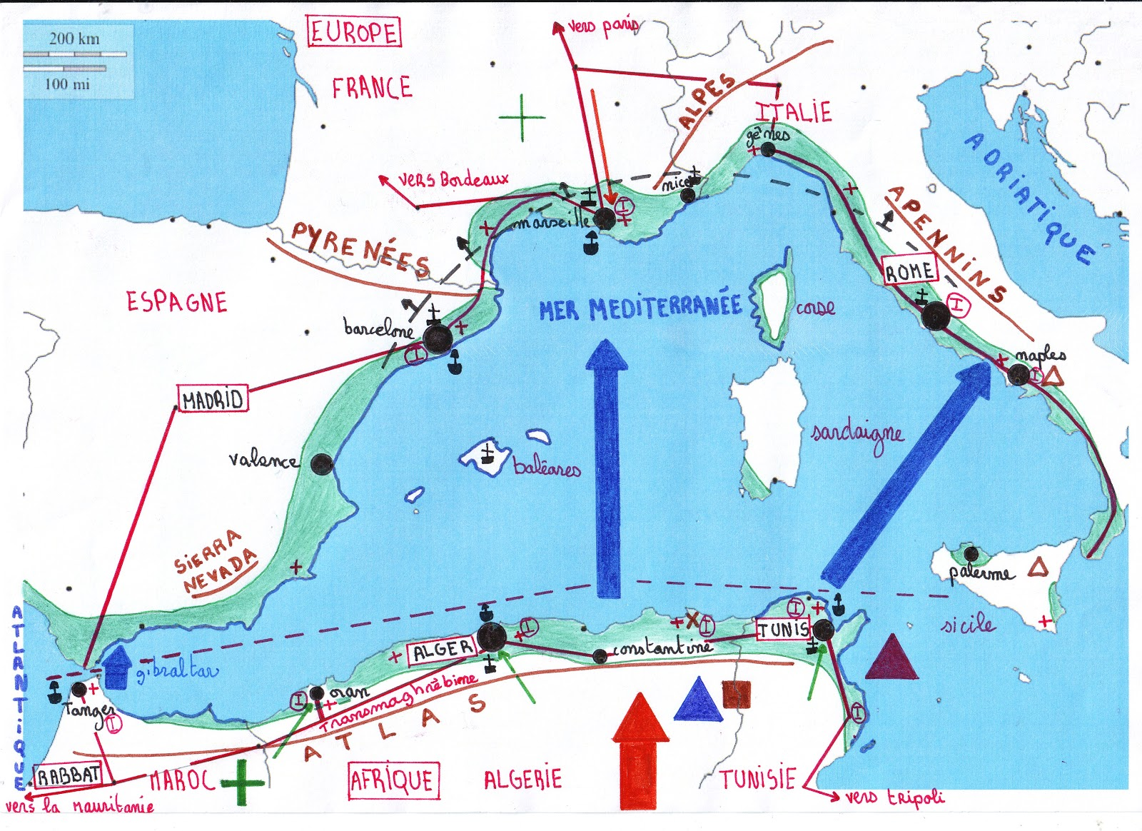 Concours Carto 4ème: Carte les littoraux de la Mer Méditerranée Occidentale