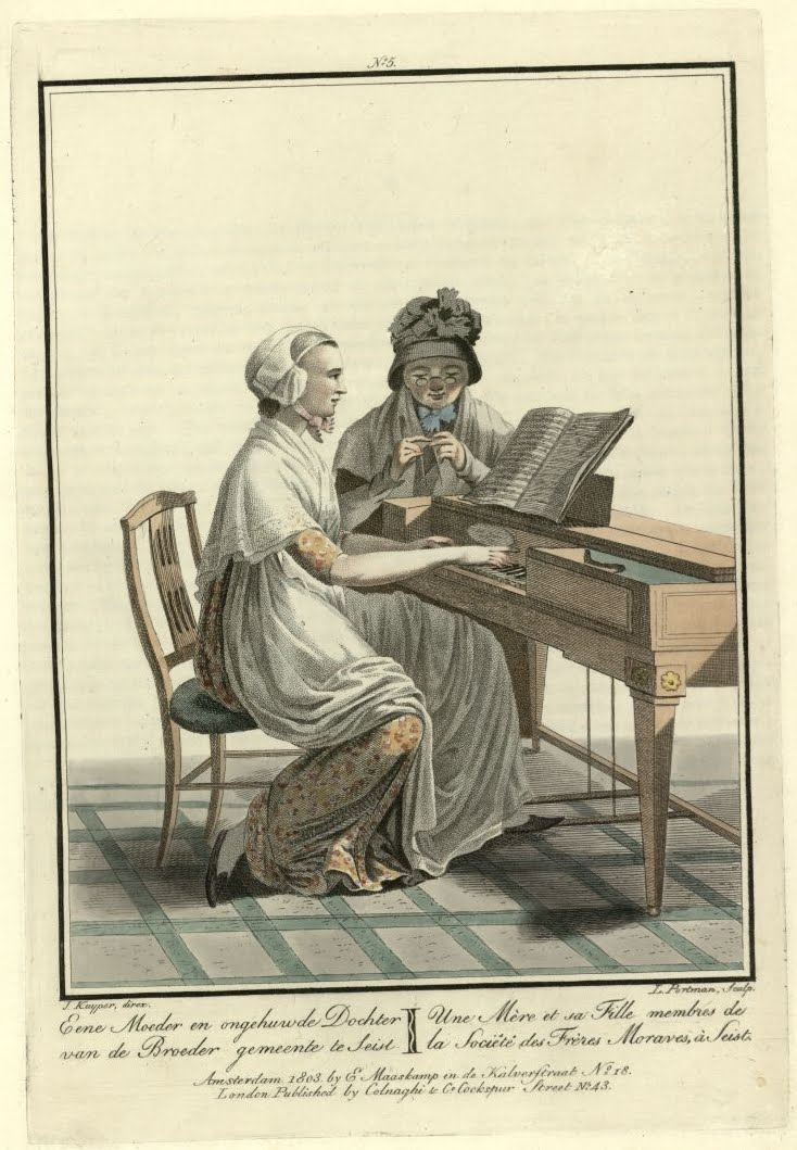 engraving of 2 ladies at an old piano-type instrument