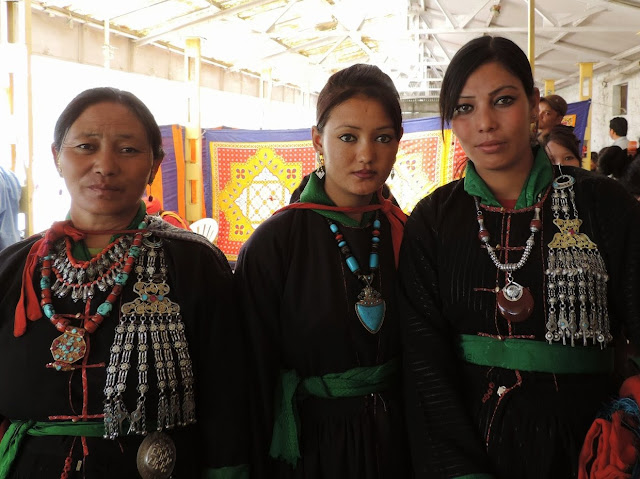 Ladakhi girls wearing ethnic jewelry