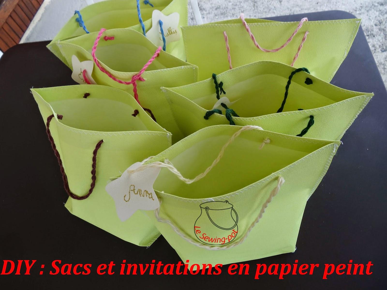 Sacs et invitations en papier peint