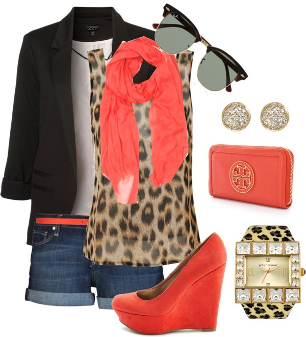 Black blazer, white shirt, orange scarf, shorts, cheetah shirt and Swiss watch for ladies
