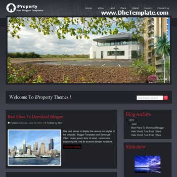iProperty Blogger Template. featured content blogger template. 4 column footer template