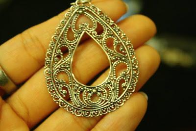 Silver earrings at Celuk Village Ubud Bali