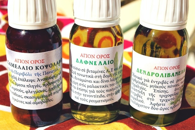 Natural beauty products from Mount Athos.Ulje lovora, ulje ruzmarina, ulje kantariona.Prirodni proizvodi sa Svete Gore.