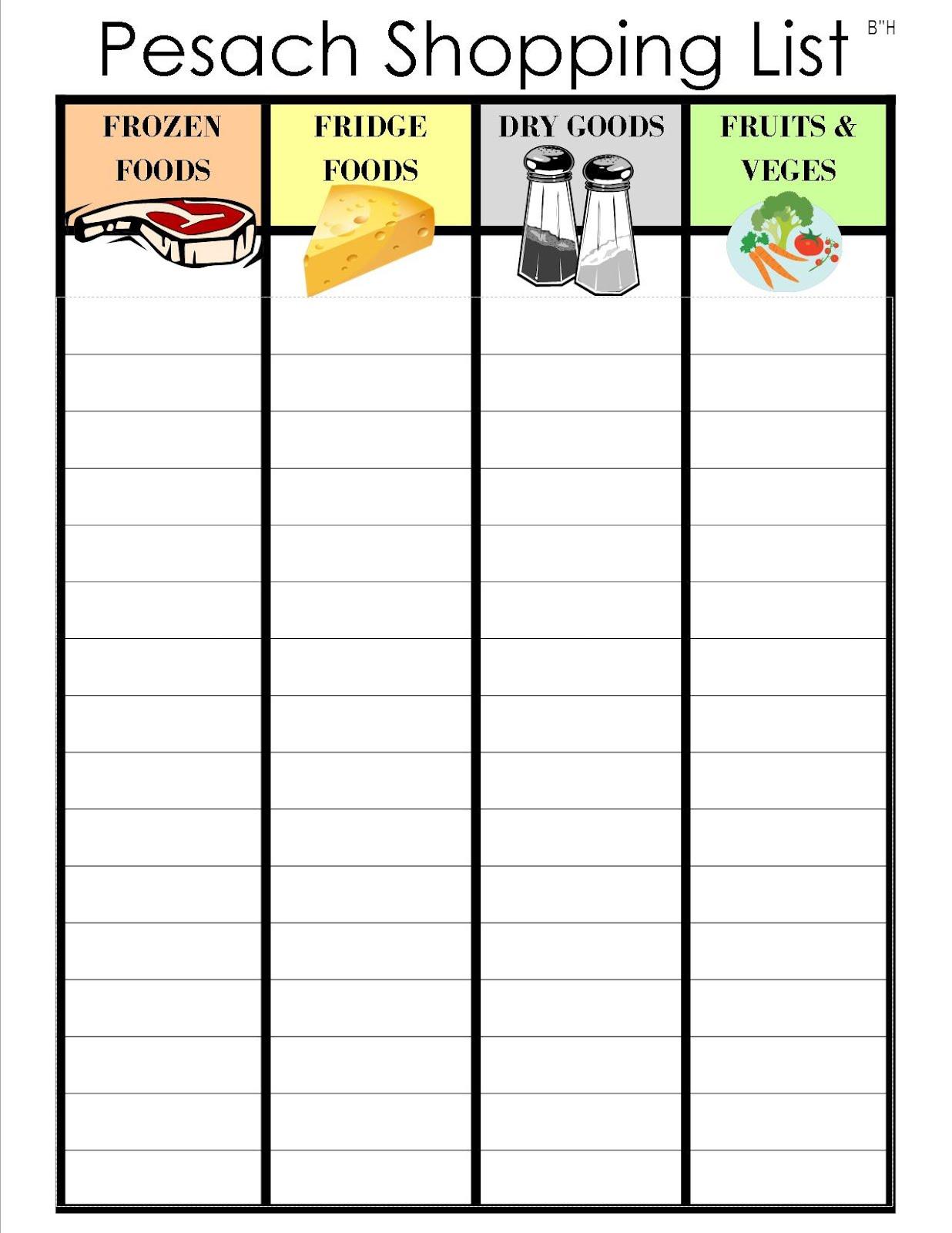 shopping list template .