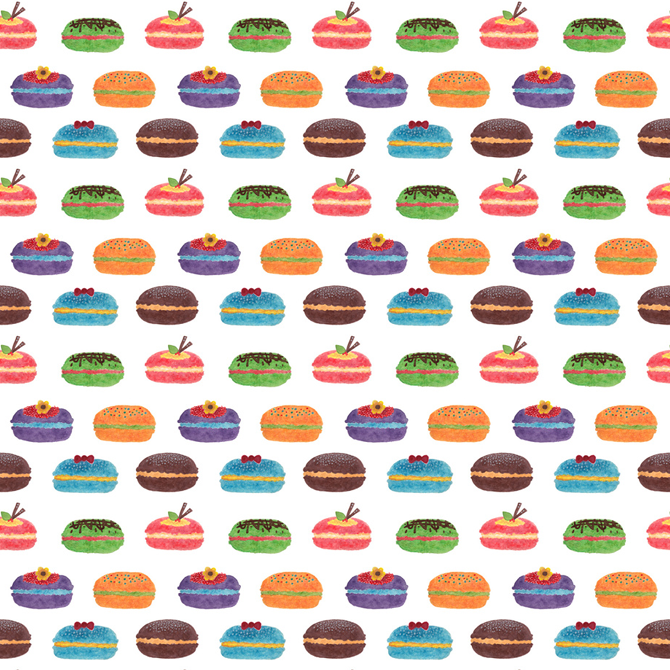 Sweet Macarons Pattern Printed on Merchandise Illustration by Haidi Shabrina