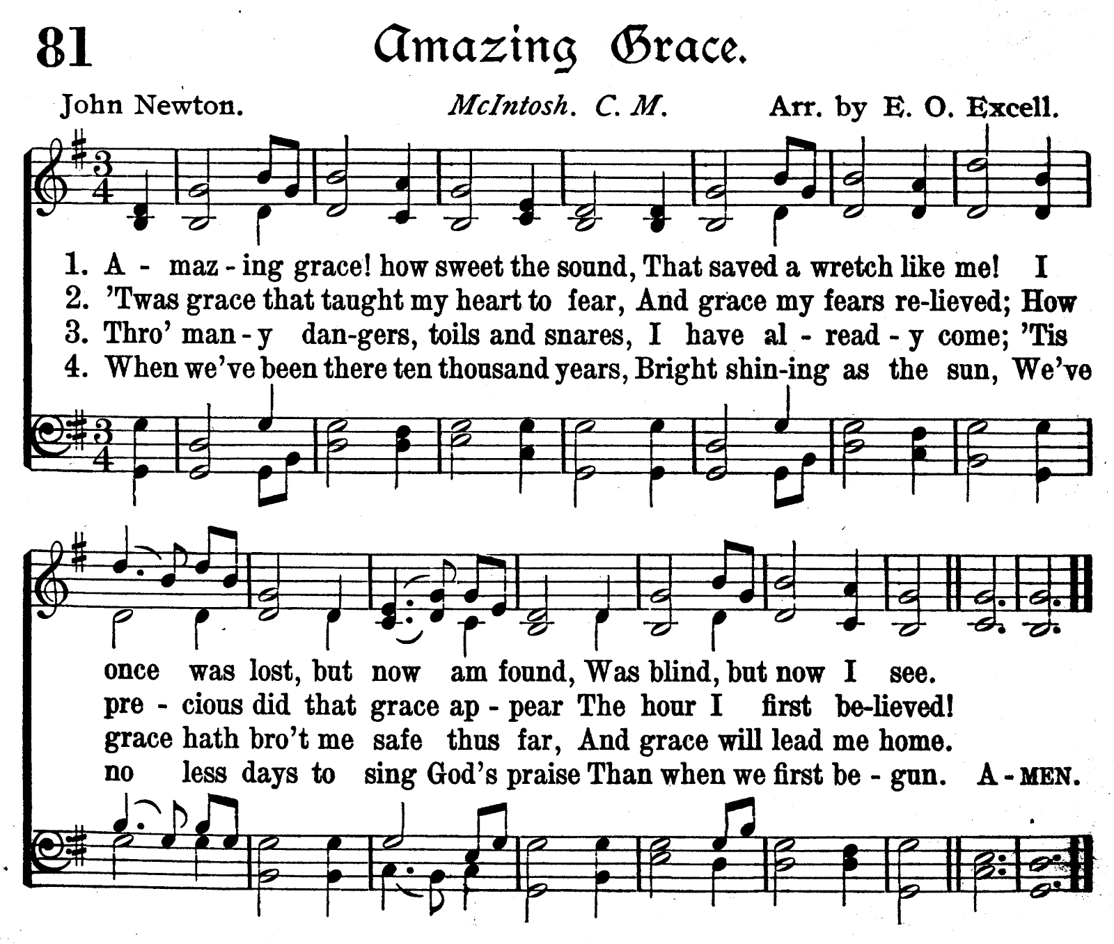 Amazing Grace Free Piano Sheet Music With Lyrics: The Sage Book Whisperer: Series 4:Hymn-Lining ~Gaelic
