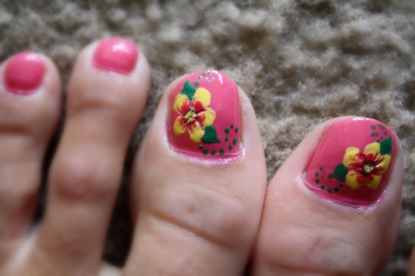 Hawaiian Flower Toe Nail Designs I let my design dry,